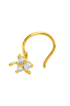 MAHIMahi Gold Plated Auric Charm Nosepin With CZ For Women NR1100151G