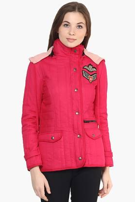 THE VANCA Womens Solid Appliqued Hooded Jacket