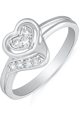 MAHI Mahi Rhodium Plated Symphonic Love Finger Ring With CZ For Women FR1100494R