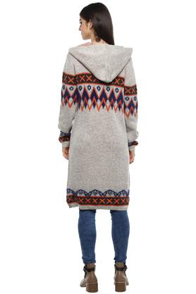Womens Hooded Neck Printed Knitted Cardigan