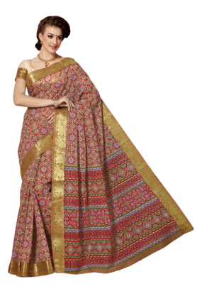 ASHIKA Womens Printed Cotton Saree - 201039467