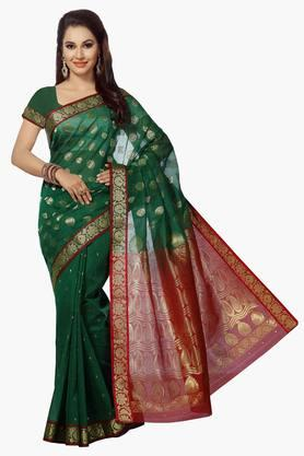 ISHIN Womens Sico Cotton Brocade Banarasi Saree