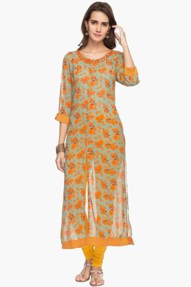 RS BY ROCKY STAR Womens Printed Round Neck Kurta - 201729634