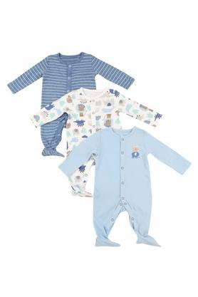 Kids Round Neck Printed and Striped Sleepsuit - Pack of 3