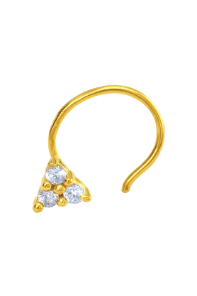 MAHIMahi Gold Plated Auric Hastate Nosepin With CZ For Women NR1100148G