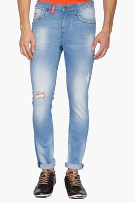 FLYING MACHINE Mens 5 Pocket Skinny Fit Heavy Wash Jeans (Jackson Fit) - 202044437