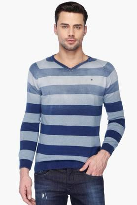 SPYKARMens Slim Fit V Neck Stripe Sweater