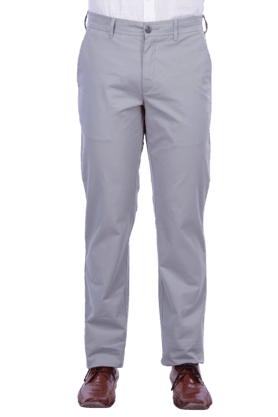 COLOR PLUS Mens Flat Front Slim Fit Solid Chinos