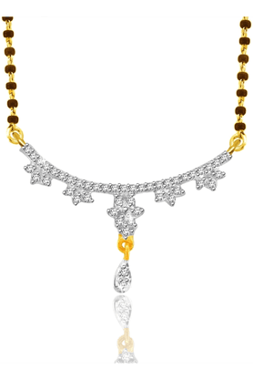 SPARKLES 18Kt Gold Mangalsutra With Diamond Pendant Along With Gold Plated Silver Chain And Black - 7499785