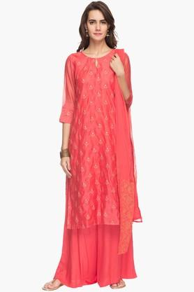 RS BY ROCKY STAR Womens Embellished Palazzo Kurta Dupatta Set