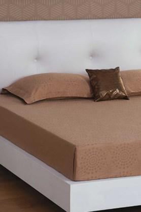 ST CLOUD Brown 300 TC Jacquard King Bedsheet With 2 Pillow Cover (Bedsheet Set (King XL)