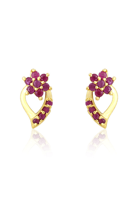 MAHI Mahi Gold Plated Blossom Drop Earrings With Ruby Stones For Women ER1108973G