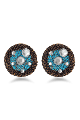 JAZZ Fancy Design White Stone Blue & Black Stunning Earrings