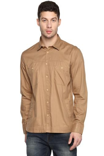 Mens Slim Collar Solid Casual Shirt