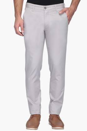 Mens Slim Fit 4 Pocket Solid Chinos (Steven Tapered Fit)