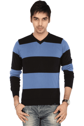 UNITED COLORS OF BENETTON Mens Full Sleeves V Neck Slim Fit Stripe Sweater