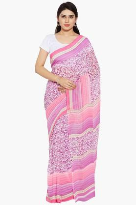 Women Abstract Print Georgette Saree With Printed Border