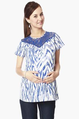 NINE MATERNITY Womens Round Neck Printed Top - 202345104