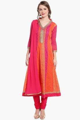 STOPWomens Embroidered Printed Anarkali Churidar Suit