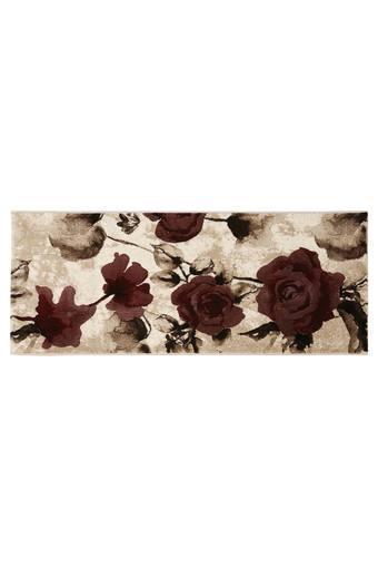 Rectangular Floral Printed Textured Flame Carpet