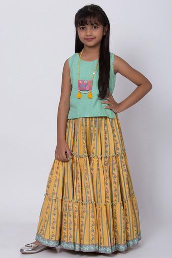 Buy BIBA GIRLS Girls Round Neck Ethnic Skirt & Top   Shoppers Stop