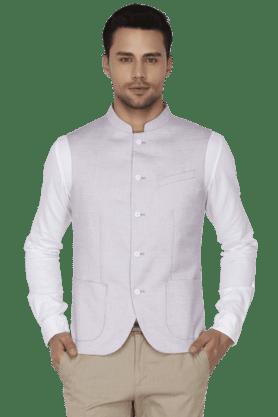 BLACKBERRYSMens Slim Fit Solid Sleeveless Nehru Jacket - 200559096