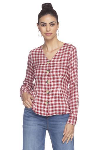 Womens V Neck Checked Shirt