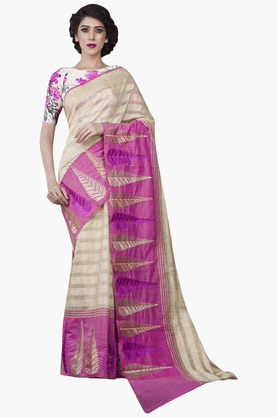 JASHN Womens Stripe Saree With Blouse Piece