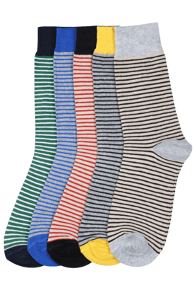 STOP Men Striped Socks (Set Of 5)