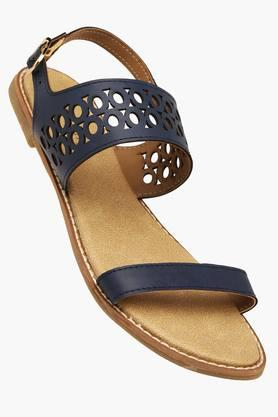 HAUTE CURRY Womens Party Wear Ankle Buckle Flat Sandal
