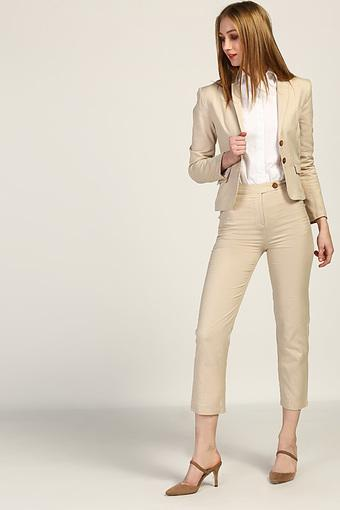 Womens Notched Lapel Solid Shirt Blazer and Trousers Set