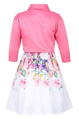 Girls Round Neck Floral Print Flared Dress with Shrug and Belt