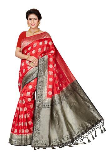 Womens Ethnic Motif Golden Zari Woven Saree with Blouse Piece