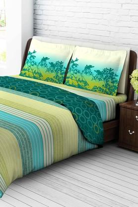 TANGERINETangy Orange Cotton King Bedsheet With 2 Pillow Covers - Green & Yellow
