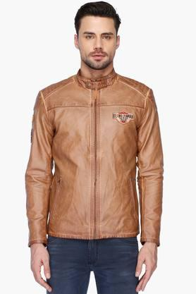BEING HUMAN Mens Solid Band Collar Bikers Jacket (Buy 3 Get Lowest At 50% Off)