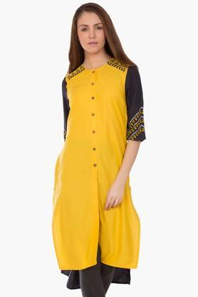 DESI BELLE Womens Embroidered High Low Kurta
