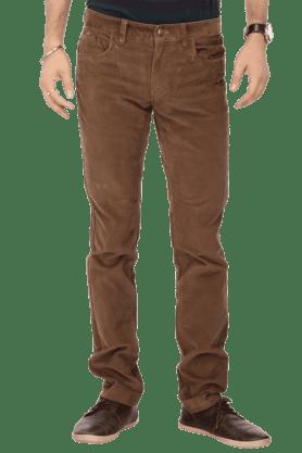 Mens Flat Front Slim Fit Stripe Corduroy Trouser