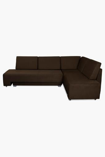 Tan Fabric Sectional Sofa Bed (3 Seater - 1 Lounger)