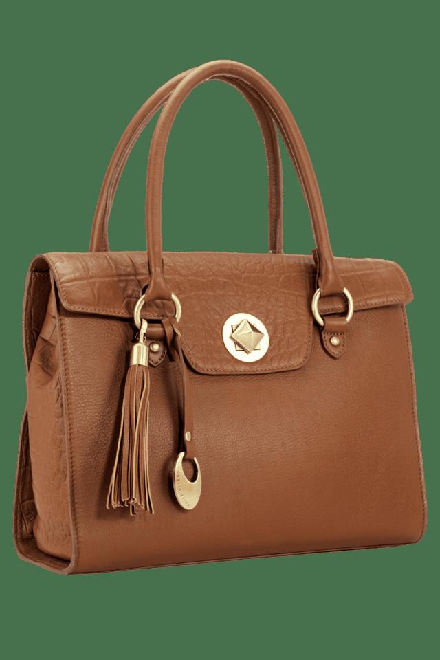 Womens Leather Magnetic Lock Closure Satchel