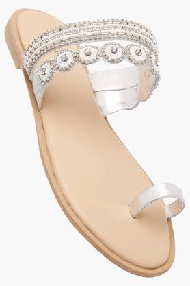 HAUTE CURRYWomens Party Wear Slipon Flat Sandals - 202456841