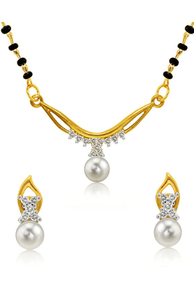MAHI Mahi Gold Plated Princess Double Chain Mangalsutra Set With CZ & Pearl For Women NL1102000G2