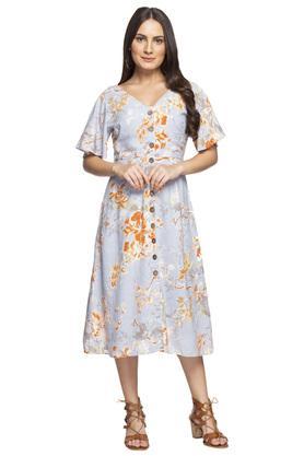 Womens V Neck Floral Print Shirt Dress