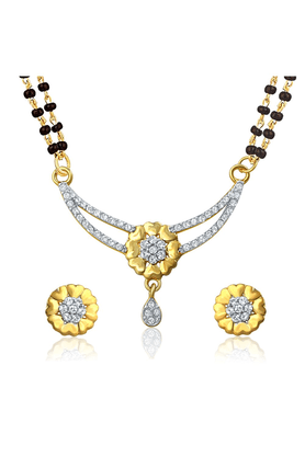 MAHI Mahi Gold Plated Shades Of Love Mangalsutra Set With CZ For Women NL1106003G2