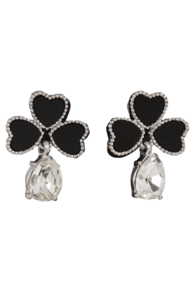 JAZZ Heart Design Black And Silver Drop Earring