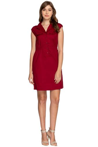 Womens Notched Lapel Solid Shift Dress