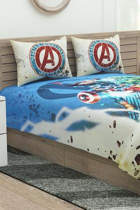 Marvel Avenger Print Double Bed Sheet with 2 Pillow Covers