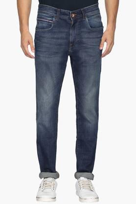 U.S. POLO ASSN. DENIM Mens 5 Pocket Slim Straight Fit Heavy Wash Jeans ( Wood Fit)