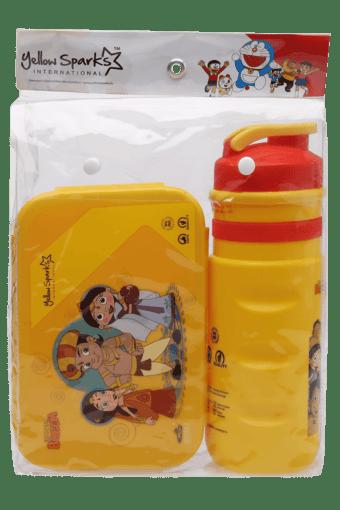 Unisex Doraemon Water Bottle Tiffin Box and Pencil Bag Combo Set