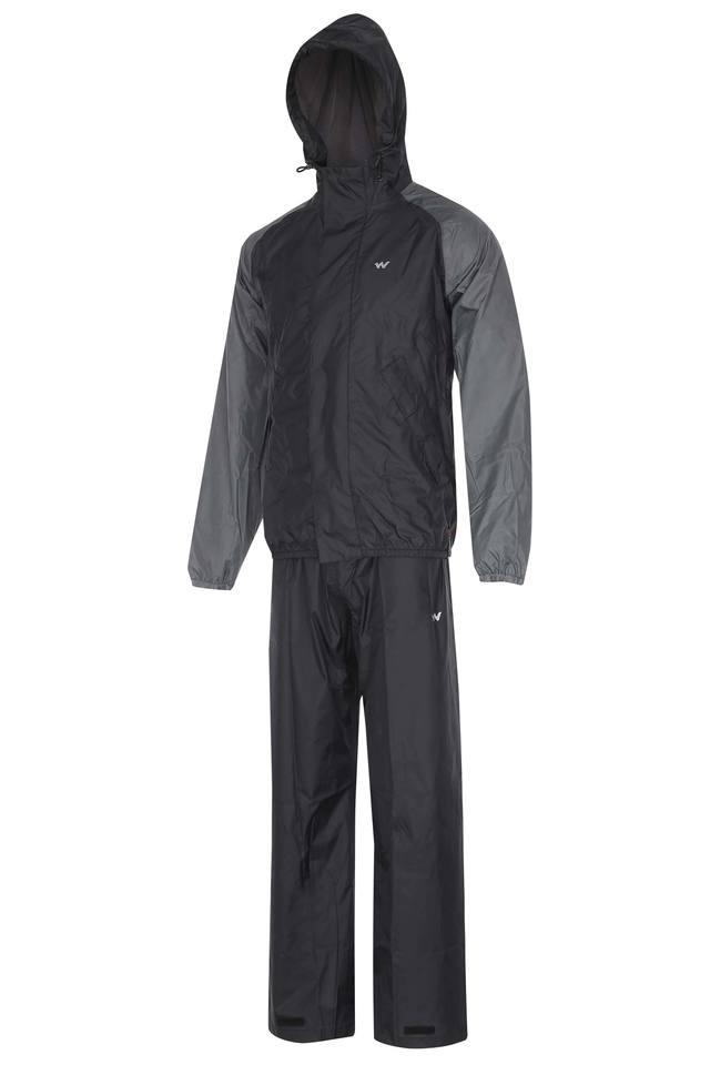 Mens Hooded Neck Two Tone Rain Jacket Suit
