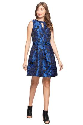 Womens Key Hole Neck Embroidered Skater Dress